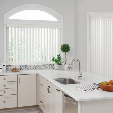 Modern white 90mm chainless vertical blinds online in kitchen