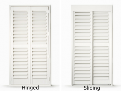 PVC Plantation Shutters Online Hinged vs Sliding Doors
